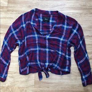 Rails plaid tie front shirt